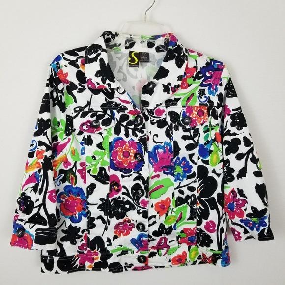 Sportelle Jackets & Blazers - Sportelle Blazer L Floral Button 3/4 Sleeve